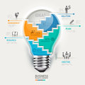 Business concept infographic template. Lightbulb s Royalty Free Stock Photo
