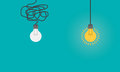 Business concept with lightbulbs as symbol of idea, creativity, think concept.