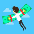 Business concept money is freedom. Flat vector illustration. Businessman on the dollar-wings.