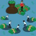 Business concept,Poor`s businessman bring money to boss - vector