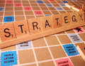 Business Concept - Strategy Scrabble Word Royalty Free Stock Images