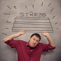 Business concept stress man being crushed by Royalty Free Stock Images