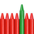 Business concept success and winning in contest green crayon standing out from the crowd Stock Image