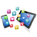 Business concept with tablet pc smartphone and application icons vector illustration Royalty Free Stock Photo