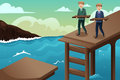 Business concept of teamwork a vector illustration two businessmen trying to build a bridge across the river Royalty Free Stock Image