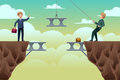 Business concept of teamwork a vector illustration two businessmen trying to build a bridge in between cliffs Stock Photos