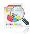 Business concept vector illustration of with finance graphs and magnifying glass Royalty Free Stock Photography