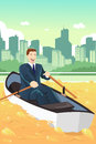 Business concept a vector illustration of happy businessman rowing a boat in a pond of gold Royalty Free Stock Image