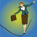 Business concept vector illustration in retro comic pop art style. Businesswoman walk on tight rope