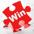 Business concept: Win on puzzle background Royalty Free Stock Photo
