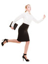 Business concept woman running in full body isolated with briefcase on white background Stock Photo