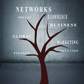 Business concepts tree trunk with words Royalty Free Stock Photos