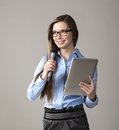 Business conference beautiful woman is speaking on Stock Photo