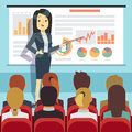 Business conference, seminar with speaker in front of audience. Motivation vector concept