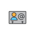 Business contact filled outline icon, line vector sign, linear colorful pictogram.
