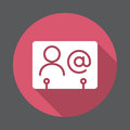 Business contact flat icon. Round colorful button, circular vector sign with long shadow effect.