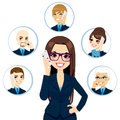 Business contacts concept illustration of businesswoman calling on a working day isolated on white background Royalty Free Stock Photo