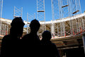 Contractors on construction site Royalty Free Stock Photo
