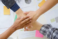 business cooperate hands join on office desk. Royalty Free Stock Photo