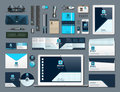 Business corporate identity items set. Vector working articles phone, tablet, maps, cards with brand logos. Work Stuff Royalty Free Stock Photo