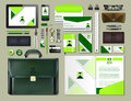 Business corporate identity items set. Vector working articles portofolio, glasses, phone, tablet, maps with brand logos Royalty Free Stock Photo