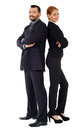 Business couple back to back isolated on white background Stock Photos