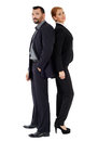 Business couple back to back isolated on white background Royalty Free Stock Photo