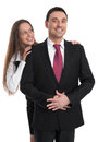 Business couple happy isolated on white Stock Image