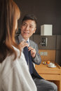 Business couple in hotel room Royalty Free Stock Image