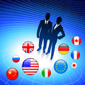 Business couple on internet flag buttons background original vector illustration Stock Photo