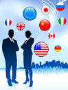 Business couple on internet flag buttons background original vector illustration Stock Photography