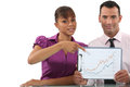 Business couple pointing at graph a Royalty Free Stock Image