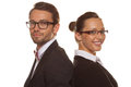 Business couple wearing glasses isolated in white Royalty Free Stock Image