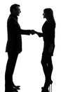 Business  couple woman man handshake silhouette Royalty Free Stock Image