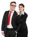 Business couple young isolated against a white background Royalty Free Stock Images