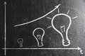 Business creativity rising graph on chalk board bars made of bulbs Royalty Free Stock Photos