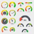 Business credit score vector speedometers. Customer satisfaction indicators with poor and good levels