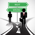 Business crossroad standing at the with wrong and right way Stock Images