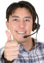 Business customer services thumbs up Stock Photos