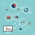 Business data analytics infographic flat design