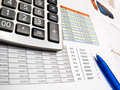Business data and calculator Royalty Free Stock Photos