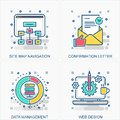 Business data icons and concepts illustrations