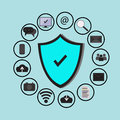 Business data protection technology and cloud network security, icons set , blue background Royalty Free Stock Photo