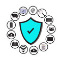 Business data protection technology and cloud network security, icons set ,blue, white background. Royalty Free Stock Photo