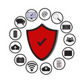 Business data protection technology and cloud network security, icons set vector,blue, white background. Royalty Free Stock Photo