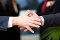 Business deal business people shaking hands in the office Stock Photography