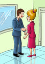 Business deal cartoon illustration of a male figure shaking hands with female figure Stock Images