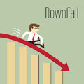 Business decline downfall chart going through the floor Stock Images