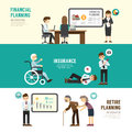 Business design planning concept people set presentation training meeting success retire insurance with flat icons vector Stock Image