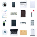 Business desktop objects set isolated on white background laptop tablet smartphone calculator usb stick paperwork and other items Royalty Free Stock Images